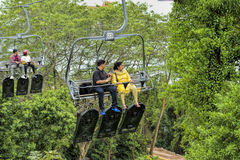 Tourist taking a Skyride Stock Photo
