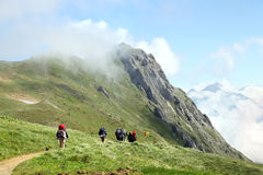 Tourist team hiking on trail in mountains Royalty Free Stock Photography