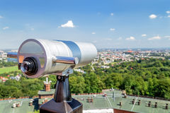 Tourist telescope for landscape exploring in Krakow (Cracow). Tourist telescope for landscape exploring in Krakow (Cracow) from Kopiec Kosciuszki. Poland Royalty Free Stock Photography