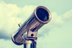 Tourist telescope for landscape exploring. Stock Photos