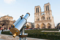 Tourist telescope mounted near Notre Dame in Paris Stock Photography