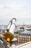 Tourist telescope over Paris landscape Royalty Free Stock Images