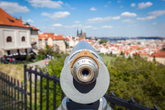 Tourist telescope in Prague, Czech Republic Royalty Free Stock Image