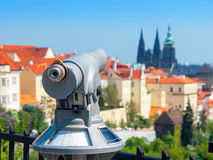 Tourist telescope. Prague, Czech Republic. Tourist telescope on Petrin hill. Hradschin, Prague, Czech Republic, Europe Royalty Free Stock Photo