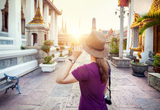 Tourist in the temple in Bangkok Royalty Free Stock Photo