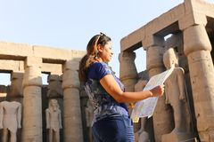 Tourist at Temple of Luxor - Egypt. Day view of Luxor Temple Luxor, Egypt royalty free stock photo