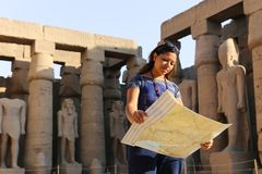 Tourist at Temple of Luxor - Egypt. Day view of Luxor Temple Luxor, Egypt royalty free stock images