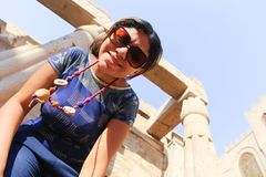 Tourist at Temple of Luxor - Egypt. Day view of Luxor Temple Luxor, Egypt royalty free stock image