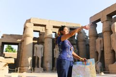 Tourist at Temple of Luxor - Egypt. Day view of Luxor Temple Luxor, Egypt stock photography