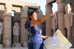 Tourist at Temple of Luxor - Egypt. Day view of Luxor Temple Luxor, Egypt stock photo