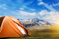 Tourist tent camping in mountains Stock Photography