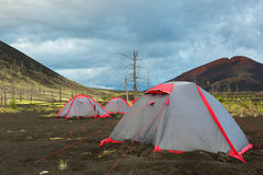 Tourist tent in Dead wood - consequence of catastrophic release of ash during the eruption of volcano in 1975 Tolbachik Stock Photos