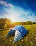 Tourist tent in forest camp among meadow Royalty Free Stock Photography