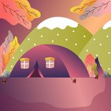 Tourist tent in forest camp outdoor adventure scene empty. vector drawing illustration. royalty free illustration