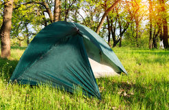 Tourist tent in forest camp Royalty Free Stock Image