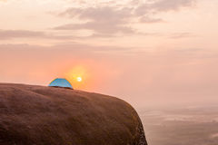 Tourist tent on the hill Stock Image