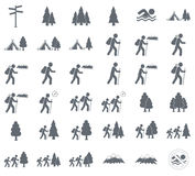Tourist tent icon and forest. Stylized icon of tourist tent and forest. Vector illustration Stock Photography