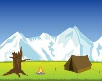 Tourist Tent In Mountain Royalty Free Stock Photos