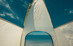 Tourist Tent Inside At Beautiful Sea View Holiday Vacation Concept Stock Images