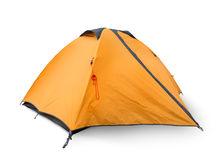 Tourist tent. Isolated on a white background stock images
