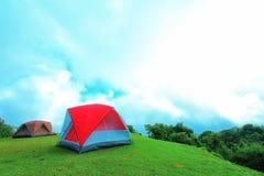 Tourist tent on the mountain Stock Image