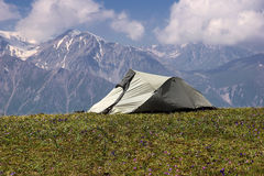 Tourist tent in the mountains Royalty Free Stock Images