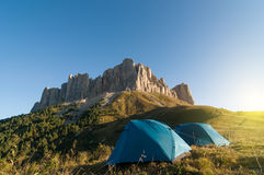 Tourist tent in mountains Royalty Free Stock Photography