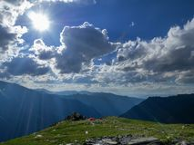 Tourist tent in mountains in the summer. royalty free stock image