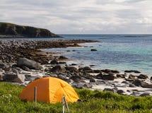 Tourist tent on ocean beach Stock Image