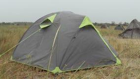 Tourist Tent and Rain stock video