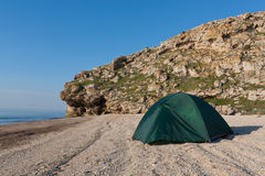Tourist tent on sea Stock Photos