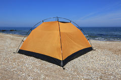 Tourist tent on sea beach Stock Image
