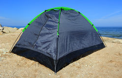 Tourist tent on sea Stock Image