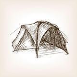 Tourist tent sketch style  illustration Royalty Free Stock Photography