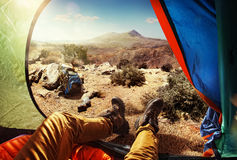 Tourist in the tent. Sport.Travelling.Tourist in the tent Stock Photos