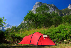 Tourist tent. Stands in the mountains, Grbaja valley, Prokletije national park, Montenegro Royalty Free Stock Photo