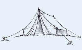 Tourist tent. Vector drawing. Tourist tent tarpaulin stretched a rope tied to a wooden peg in grass. Vector monochrome freehand ink drawn background sketchy in vector illustration