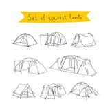 Tourist tent. Vector icons Royalty Free Stock Images