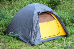 Tourist tent in the woods royalty free stock photos