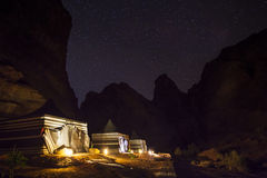 Tourist tents on the background of the starry sky. Wadi Rum Desert. Jordan Stock Photo