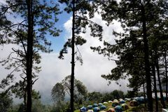 Tourist tents in forest at campsite, Camp site in the forest at Doi Ang Khang-Thailand. Beautiful landscape on mountain with sky and cloud, peace and stock image