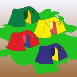 Tourist tents. Group of four tourist tents of different color Royalty Free Stock Image