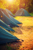 Tourist tents. Selective focus. Stock Images