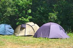 Tourist tents are standing in a row on the summer glade. In the forest on sunny day; Necessary equipment for hiking; Holiday away from city bustle stock images