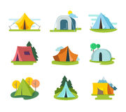 Tourist tents vector set in flat style Stock Photography