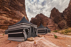 Tourist tents in Wadi Rum dessert. Stock Photography