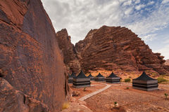 Tourist tents in Wadi Rum dessert. Royalty Free Stock Image