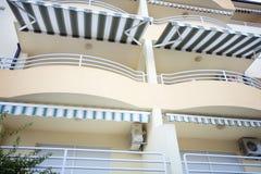 Tourist terrace balcony with tarpaulin. At sunny day Royalty Free Stock Photography