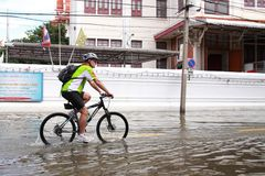 Tourist with Thailand flood. Royalty Free Stock Photography