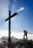 Tourist on top of Bettmerhorn, Switzerland Royalty Free Stock Photography